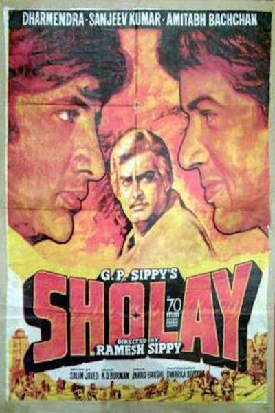 "Poster for the movie ""Sholay"""